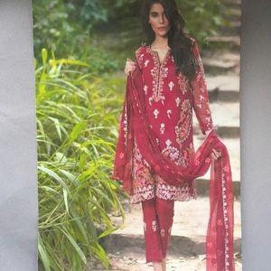 3 pc Pakistani burgundy outfit